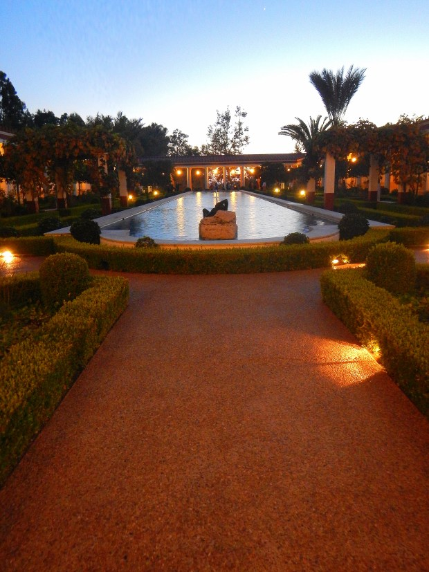 Outer Peristyle and gardens at dusk, Getty Villa, Los Angeles, California
