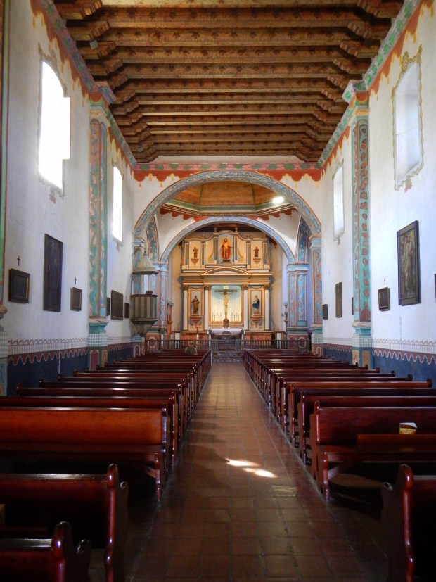 Interior of church looking towards the altar, Mission San Luis Rey, California