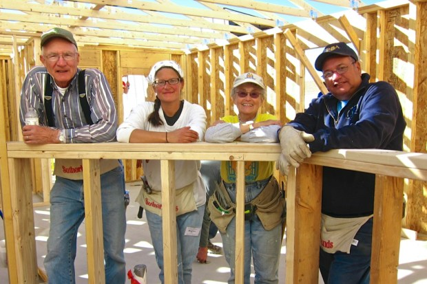 Harvey, Gwen, a day volunteer, and I, Habitat for Humanity Build, Las Cruces, New Mexico