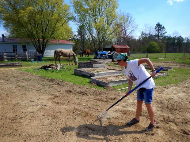 Me raking, Grundy County Community Garden, White City, Tennessee