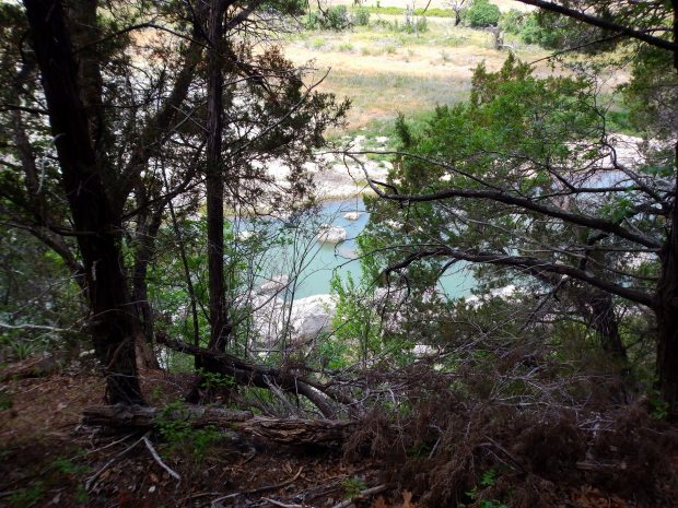 Looking down at the North Fork of the San Gabriel River from the bluff, San Gabriel River Trail, Texas