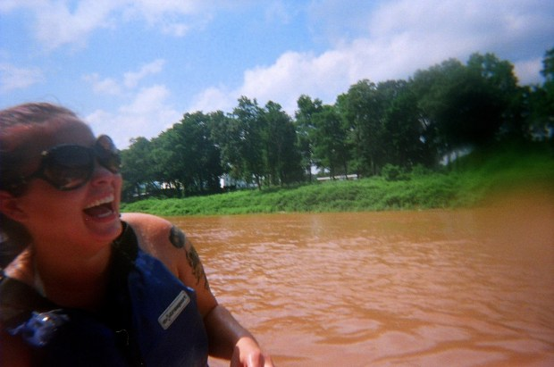 Tina having a good time, Delaware River, Pennsylvania/New York