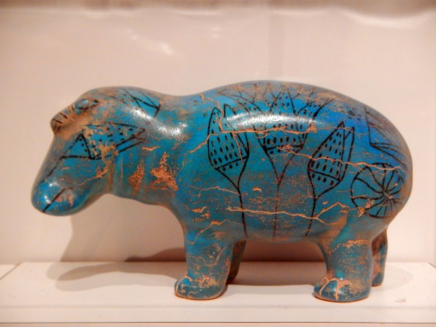 Glazed pottery copy of William the Hippo, (original is Middle Kingdom 12th dynasty faience in Metropolitan Museum of Art), McClung Museum, Knoxville, Tennessee