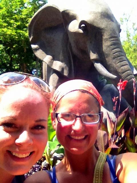 Us in front of the elephant statue, Philadelphia Zoo, Philadelphia, Pennsylvania