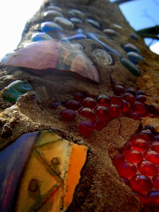 Broken pottery and bottles embedded in wall, Bottle Chapel, Minnie Evans Sculpture Garden, Airlie Gardens, Wilmington, North Carolina