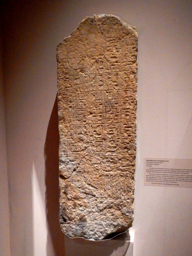 Old Kingdom offering list from unknown tomb (Dynasty III-IV), McClung Museum, Knoxville, Tennessee