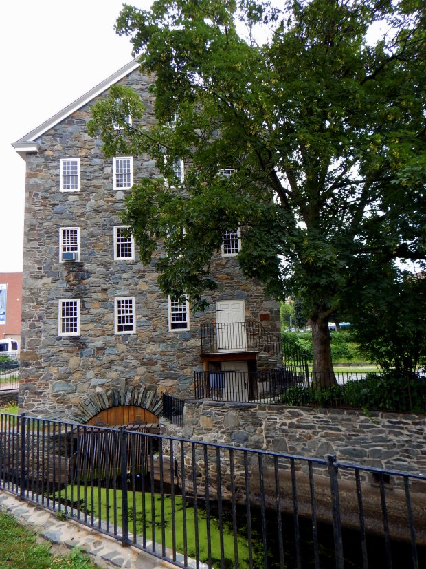 Wilkinson Mill and trench from Blackstone River, Slater Mill Historic Site, Pawtucket, Rhode Island