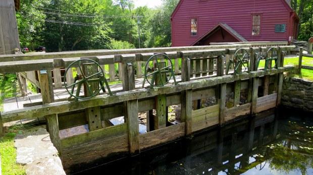 Sluice gates on dam, Gilbert Stuart Museum, Saunderstown, Rhode Island