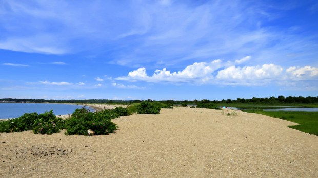 Beach on left and Bluff Point Lake on right separated by sand spit, Bluff Point State Park, Groton, Connecticut