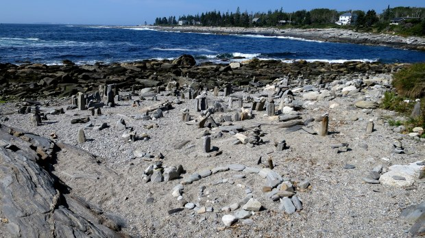 Evidence of industrious tourists at work, Pemaquid Point Lighthouse, Maine