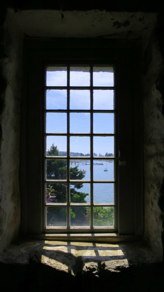 View through the window into the bay while climbing the bastion, Fort William Henry, Maine