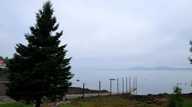 Boat ramp in the fog, Maine coast