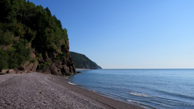 Pangburn Beach with Melvin Beach in the next cove, Fundy Trail, New Brunswick, Canada