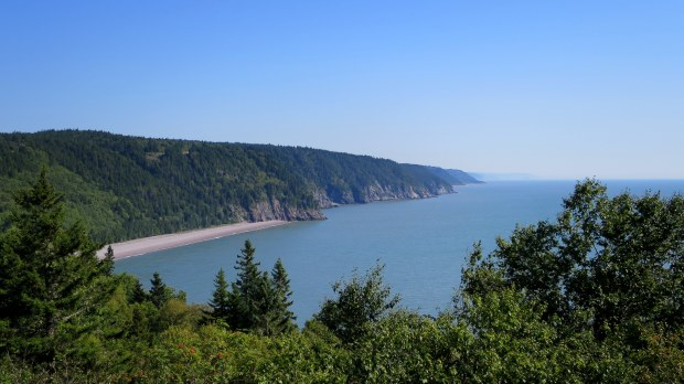 View of Pangburn and Melvin Beaches from return path, Fundy Trail, New Brunswick, Canada