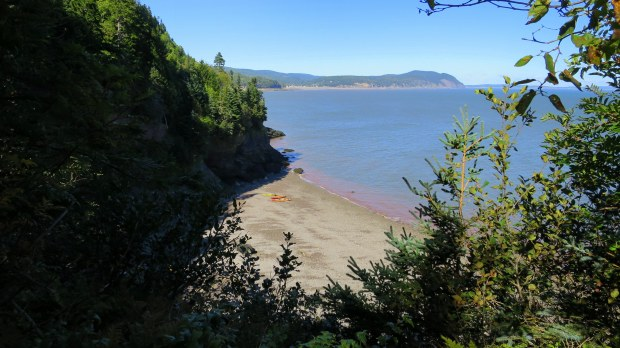 Another cove with beached kayaks, Matthews Head Trail, Fundy National Park, New Brunswick, Canada