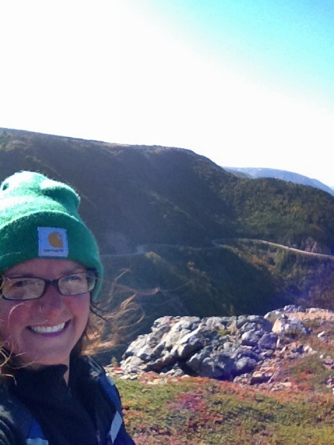 Me on high point of headland (it was pretty windy), Skyline Trail, Cape Breton Highlands National Park, Nova Scotia, Canada