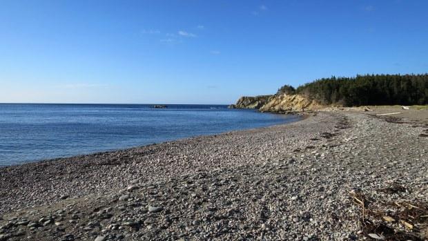 Rocky beach near Pillar Rock, Cape Breton Highlands National Park, Nova Scotia, Canada