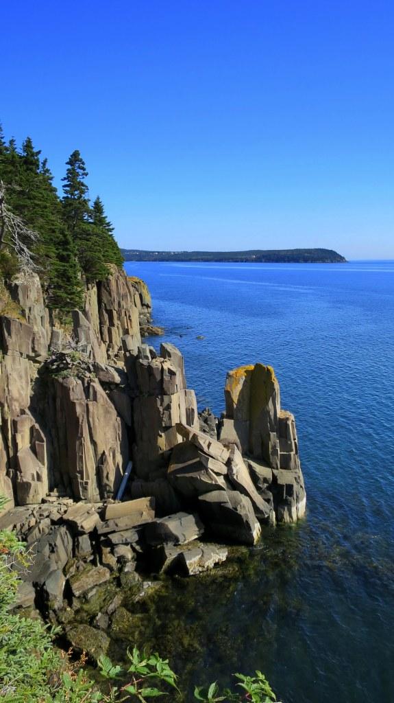 Columnar basalt on Long Island near Balanced Rock, Nova Scotia, Canada