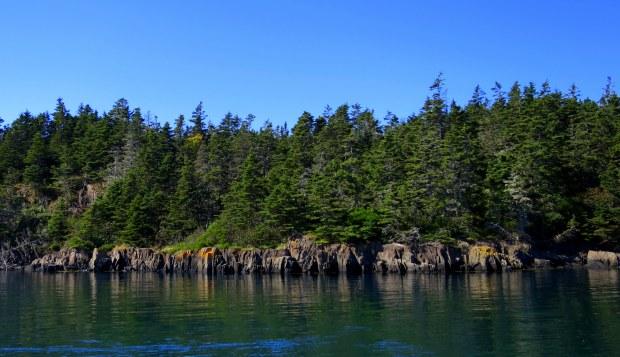 Basalt coast of Brier Island from Grand Passage, Nova Scotia, Canada