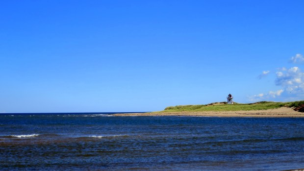 Covehead Harbor Lighthouse from the other side of Covehead Harbour, Brackley-Dalvay, Prince Edward Island National Park, Prince Edward Island, Canada