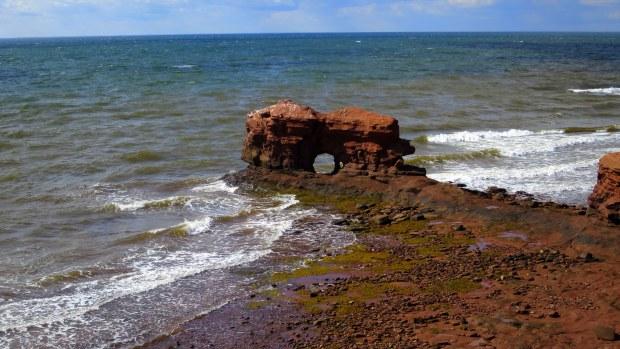 Zoom of sea stack, Cape Egmont, Prince Edward Island, Canada