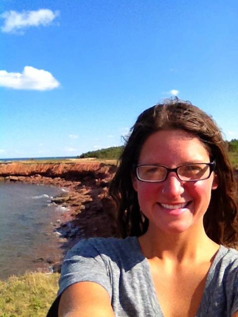 Me at sandstone cliffs, Brackley-Dalvay, Prince Edward Island National Park, Prince Edward Island, Canada