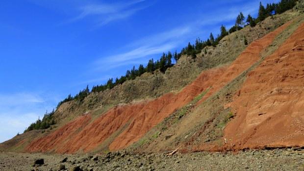 Passing back in front of Red Cliffs, Five Islands Provincial Park, Nova Scotia, Canada