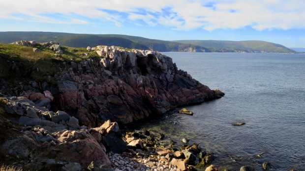 Gneiss and schist cliffs, White Point, Cape Breton Island, Nova Scotia, Canada
