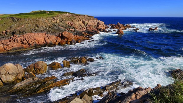 Closer look at the passage between White Point and the islands, Cape Breton Island, Nova Scotia, Canada