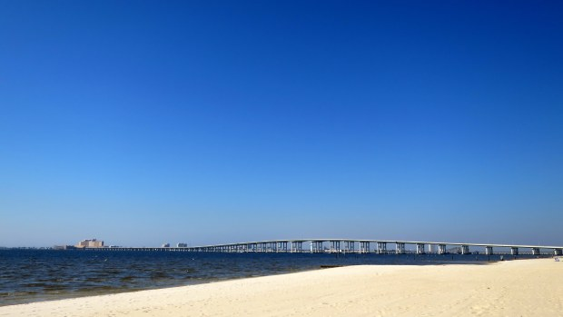 Beach and bridge to Biloxi from Ocean Springs, Mississippi
