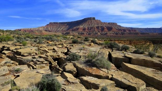 Jumbled broken rock, Virgin River Canyon Rim, Utah