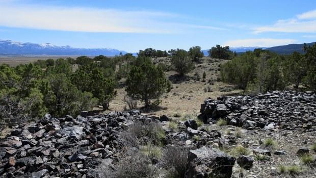 Piles of iron deposits, Iron Mountain District, Cedar City, Utah