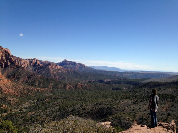 Me in awe at the end of Timber Creek Overlook Trail, Kolob Canyon, Zion National Park, Utah