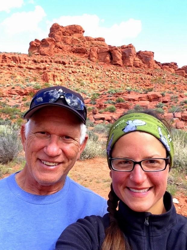 Tom and I, Dino Cliffs Trail, Red Cliffs Desert Reserve, Utah