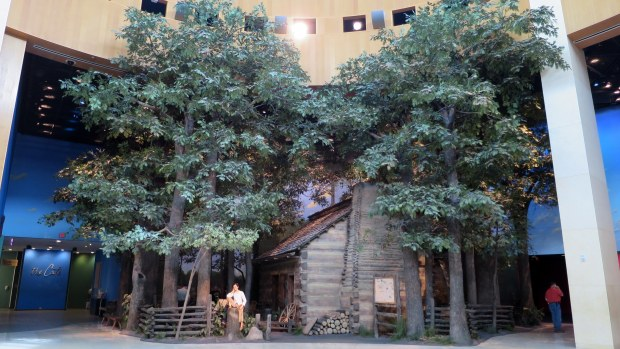 Abe's log cabin, Lincoln Presidential Museum, Springfield, Illinois