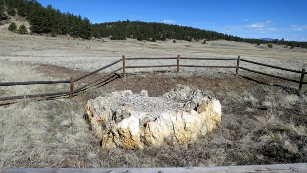 Petrified redwood stump, Petrified Forest Loop Trail, Florissant Fossil Beds National Monument, Colorado