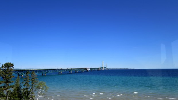 View of the Mackinac Bridge from the tower of the Old Mackinac Point Lighthouse, Michilimackinac State Park, Michigan