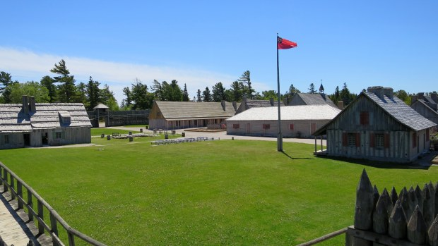 View across courtyard, Fort Michilimackinac State Park, Michigan