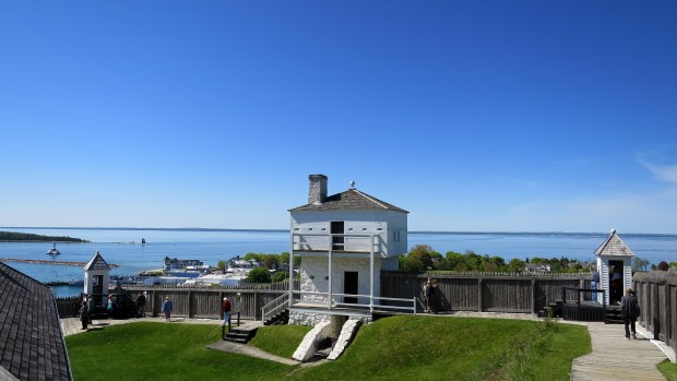 View of palisade and blockhouse, Fort Mackinac, Mackinac Island, Michigan