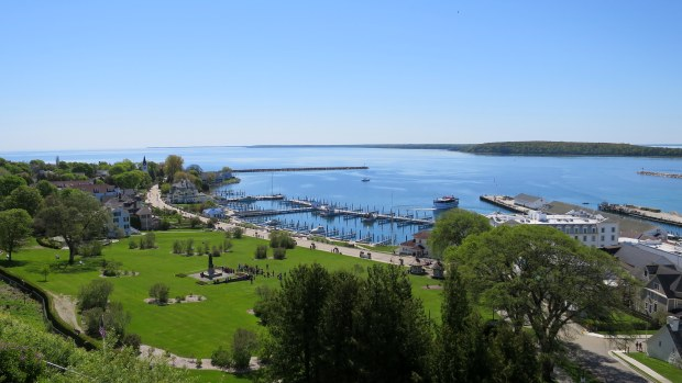 View of the marina from palisades of Fort Mackinac, Mackinac Island, Michigan