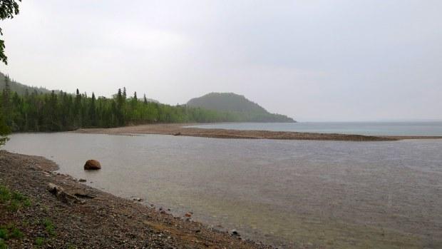 North side of mouth of Baldhead River, Orphan Lake Trail, Lake Superior Provincial Park, Ontario, Canada