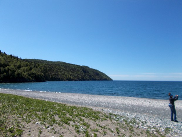 Me on beach at beginning of Casque Isles Trail, Schreiber, Ontario, Canada