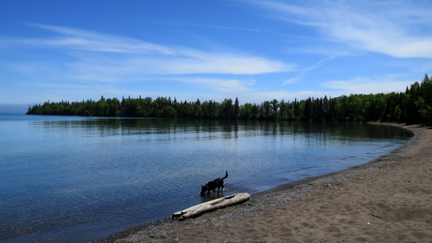 Abby sampling the water, Top of the Giant Trail, Sleeping Giant Provincial Park, Ontario, Canada