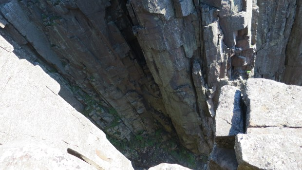Looking down the crack, Top of the Giant Trail, Sleeping Giant Provincial Park, Ontario, Canada
