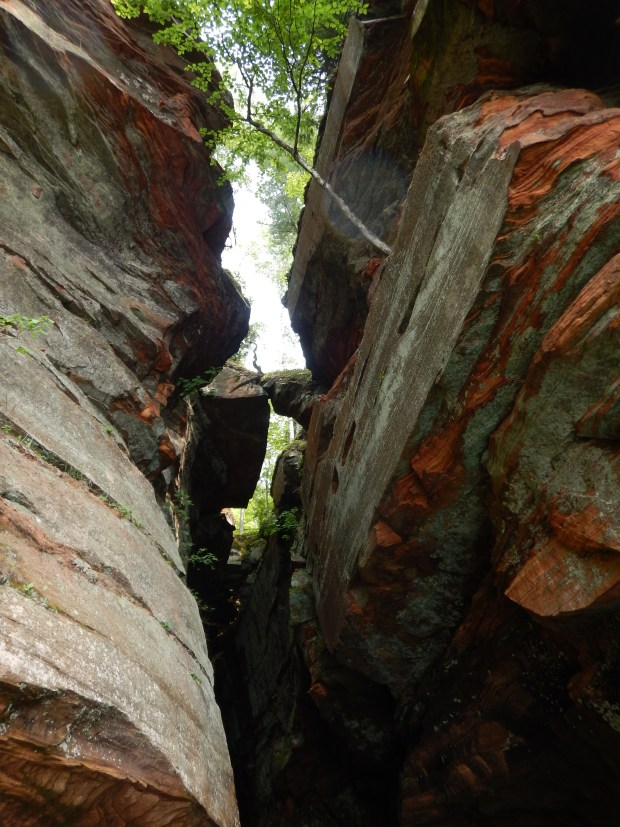 Looking up at the entrance to the crack, Apostle Islands National Lakeshore, Wisconsin