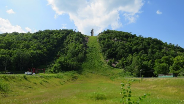 Ski jumping hill from out-run, Copper Peak Ski Flying Hill, Michigan