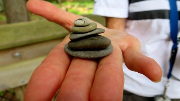Teri's zen rock stack, West River Trail, Porcupine Mountains Wilderness State Park, Michigan