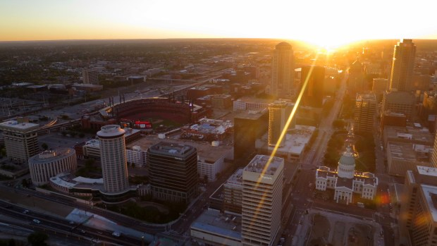 View of Cardinals Stadium (left) and Old Courthouse (right) from top of Gateway Arch, St. Louis, Missouri