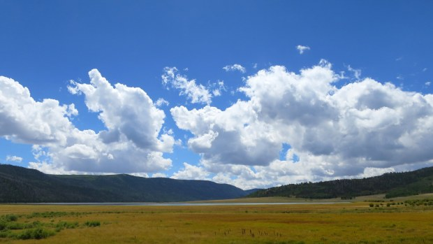 Grassy meadows and Fish Lake, Fishlake National Forest, Utah
