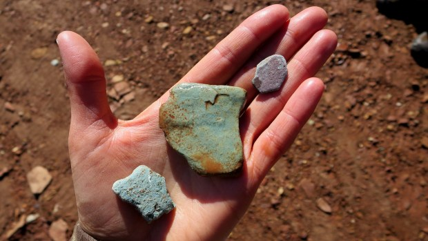 Mineral-colored rocks, Burr Trail, Grand Staircase-Escalante National Monument, Utah